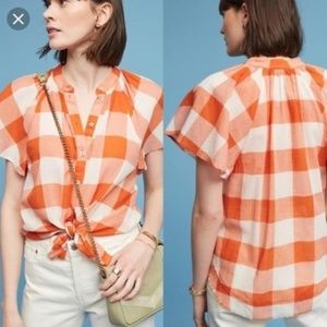 Maeve Orange Picnic Plaid Button Down Shirt